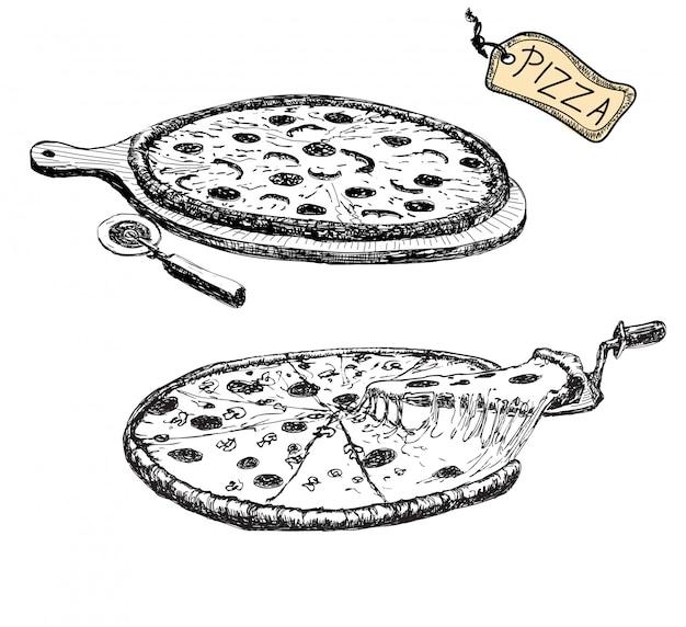Pizza. ręcznie rysowane ilustracja