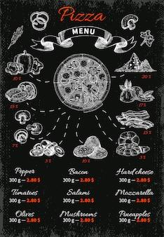 Pizza ręcznie rysowane menu