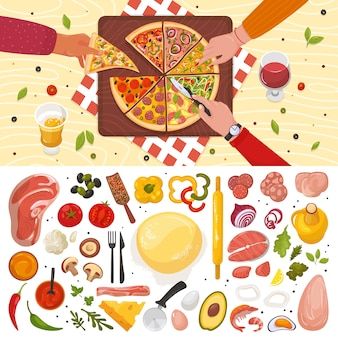 Pizza smaczne jedzenie z różnymi składnikami, pomidorem, serem, grzybami, papryką na białej ilustracji widok z góry. pizza włoska kuchnia z różnymi dodatkami, stół w restauracji.