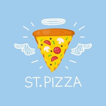 """Pizza """"st. pizza"""" z aureolą anioła i skrzydłami. mieszkanie i doodle na białym tle pizza, posiłek, dostawa, kawiarnia, zabawa ilustracja z oliwkami i kiełbasą. uwielbiam pizzę do kawiarni"""