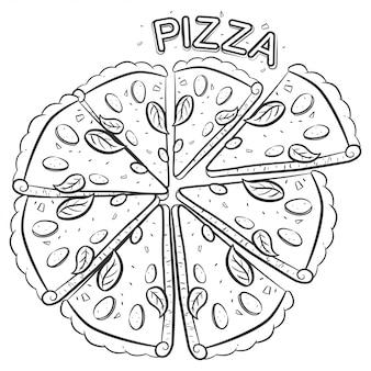 Pizza szkic ilustracji na białym tle na białym tle.