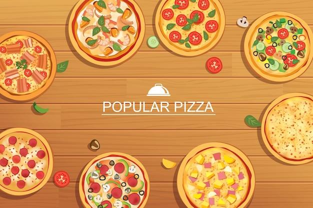 Pizza ustawia różne menu na drewnianym tle.