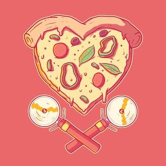 Pizza w kształcie serca. valentine, miłość, koncepcja projektowania fast food
