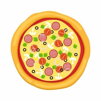 Pizza w stylu płaski na białym tle.