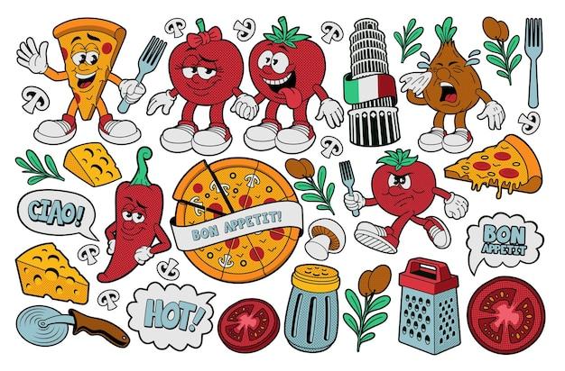 Pizza wektor clipart, zestaw ilustracji wektorowych kreskówek na temat pizzy