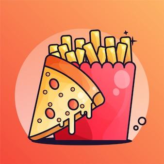 Pizza z frytkami gradient ilustracji