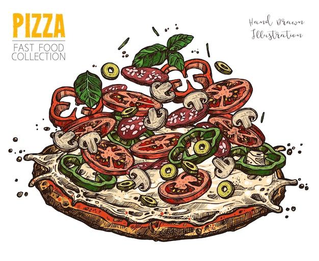 Pizza z pieczarkami, papryką, salami, pomidorem, oliwkami i zieleniną.