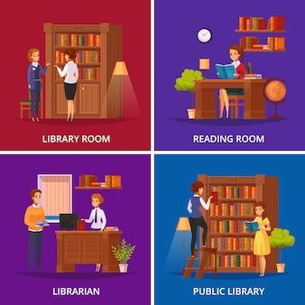 Plac biblioteki publicznej z bibliotekarzem, który pomaga odwiedzającym i czytelnią na białym tle