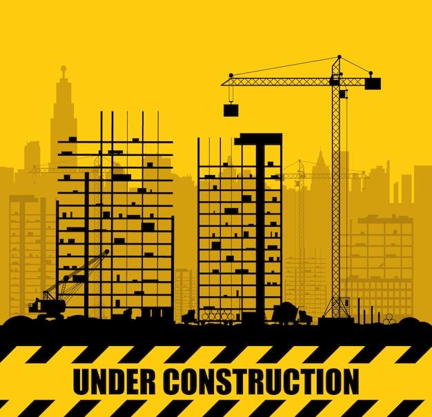 Plac budowy z budynkami i dźwigami