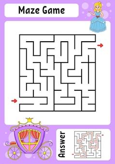 Plac Labirynt Gra Dla Dzieci Funny Labirynt Premium Wektorów