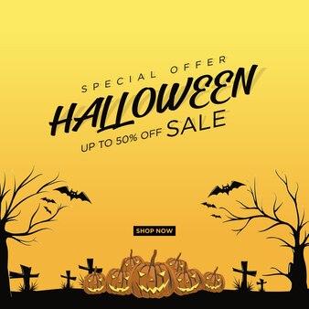 Plac sprzedaży halloween w jasnożółtym kolorze.
