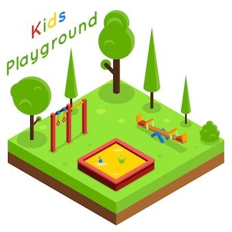 Plac zabaw dla dzieci izometryczny płaski wektor. parkowa zabawa, drzewo i ilustracja krajobraz