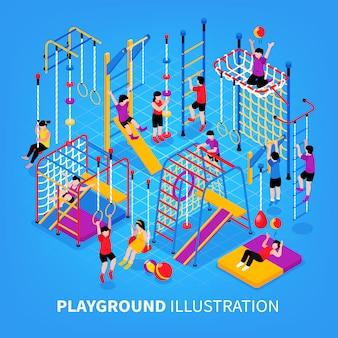 Plac zabaw dla dzieci izometryczny tło