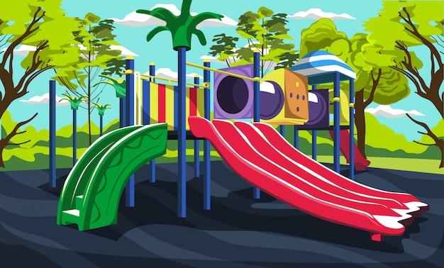 Plac zabaw dla dzieci na świeżym powietrzu w green park ze zjeżdżalniami i tunelami, pudełkiem zabawek, miotłą i śmieciami do projektowania wektorowego na zewnątrz