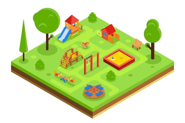 Plac zabaw dla dzieci w izometrycznym stylu płaski. przedszkole z ławeczką karuzelową z piaskownicą. ilustracji wektorowych