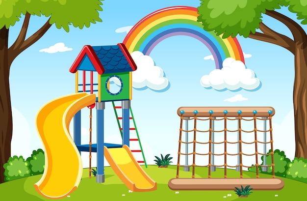 Plac zabaw dla dzieci w parku z tęczą na niebie w stylu cartoon w ciągu dnia