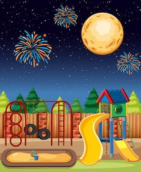 Plac zabaw dla dzieci w parku z wielkim księżycem i fajerwerkami na niebie w stylu kreskówki nocy