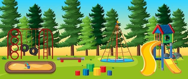 Plac zabaw dla dzieci w parku z wieloma sosnami w stylu cartoon w ciągu dnia