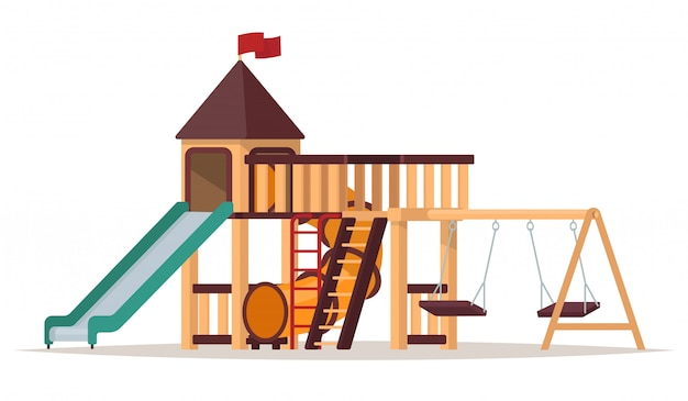 Plac zabaw dla dzieci z huśtawkami i zjeżdżalniami na białym tle. ilustracja