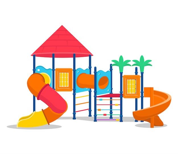 Plac zabaw dla dzieci ze zjeżdżalniami i rurką. ilustracja kreskówka wektor.