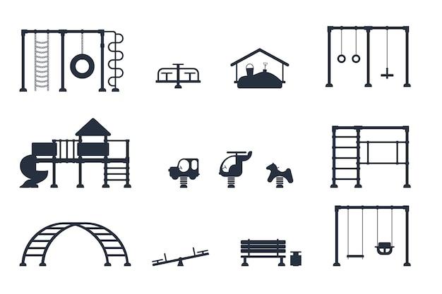 Plac zabaw dla dzieci. zestaw czarnych ikon elementów wyposażenia do gry. koncepcja parku miejskiego. ilustracja wektorowa