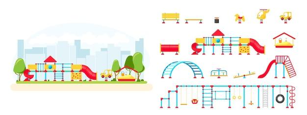 Plac zabaw dla dzieci. zestaw elementów wyposażenia do zabawy. koncepcja parku miejskiego. ilustracja wektorowa