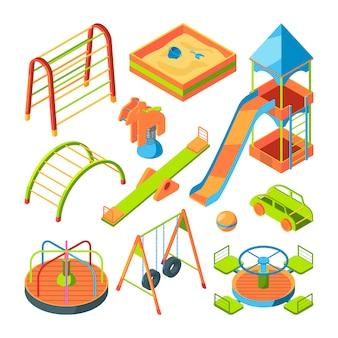 Plac zabaw dla dzieci. zestaw zdjęć izometrycznych