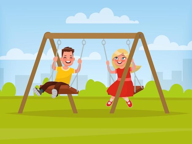 Plac zabaw. dzieci huśtają się na huśtawce. ilustracja