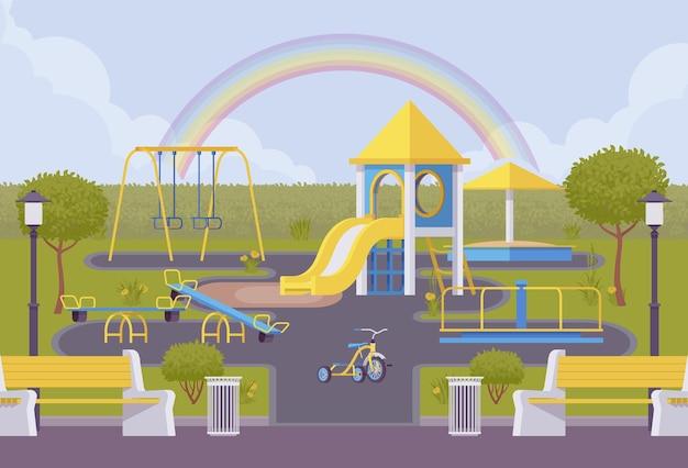 Plac Zabaw Na świeżym Powietrzu Premium Wektorów