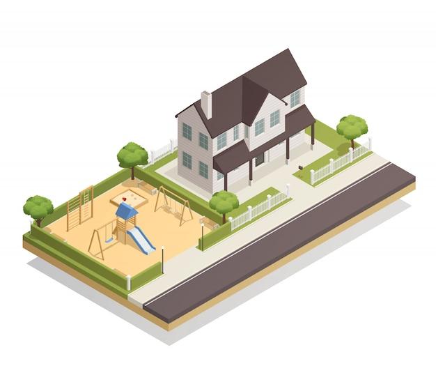 Plac zabaw w pobliżu składu izometrycznego domu mieszkalnego