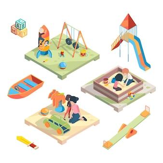 Plac zabaw w rzucie izometrycznym. miejsce na zabawne gry dla dzieci
