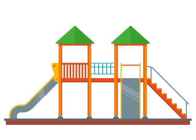 Plac zabaw ze zjeżdżalniami. kompleks na podwórku na białym tle. płaska ilustracja wektorowa