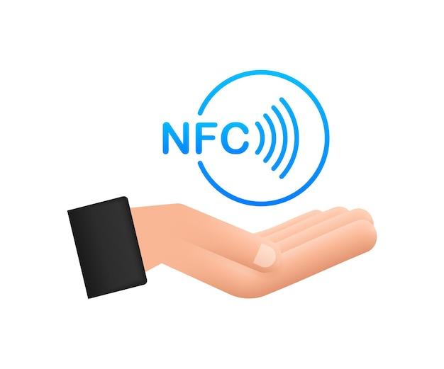 Płać zbliżeniowy bezprzewodowy znak w ręce logo. technologia nfc. czas ilustracja wektorowa.