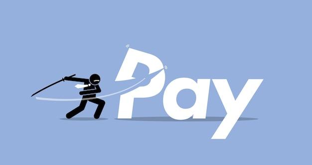 Płaca cięcia przez biznesmena. grafika przedstawia obniżkę pensji, redukcję premii, mniej płac.