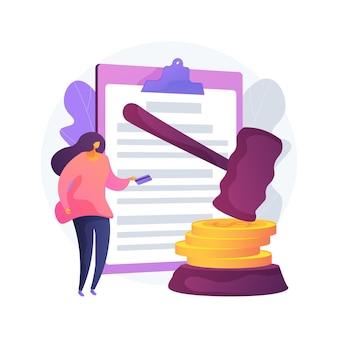 Płacić kary abstrakcyjne pojęcie ilustracji wektorowych. odsetki za zwłokę, kara do zapłaty online, brak rozliczania podatków, grzywna, indywidualna współodpowiedzialność, abstrakcyjna metafora sporu finansowego.