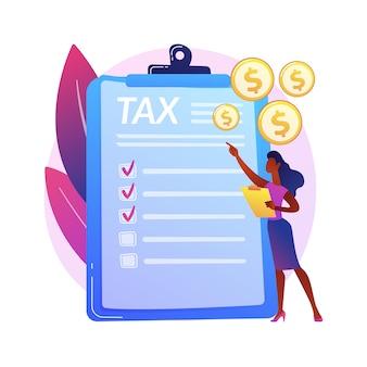 Płacić podatki. paragon z kosztami. płatność za rachunki, odbiór faktur, raport ekonomiczny. rachunkowość budżetowa. zarządzanie pożyczkami i kredytami. formularz irs. ilustracja koncepcja na białym tle.
