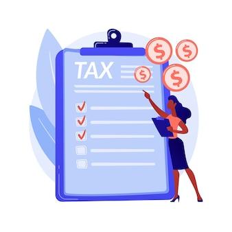 Płacić podatki. paragon z kosztami. płatność za rachunki, odbiór faktur, raport ekonomiczny. rachunkowość budżetowa. zarządzanie pożyczkami i kredytami. formularz irs. ilustracja wektorowa na białym tle koncepcja metafora.