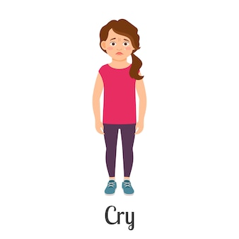 Płacz mała dziewczynka kreskówka