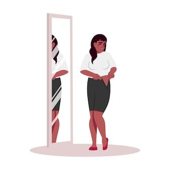 Płacząca kobieta próbuje na ubrania pół płaski kolor rgb ilustracja wektorowa. african american girl przygnębiony o wadze na białym tle postać z kreskówki na białym tle. stres emocjonalny, problem z otyłością