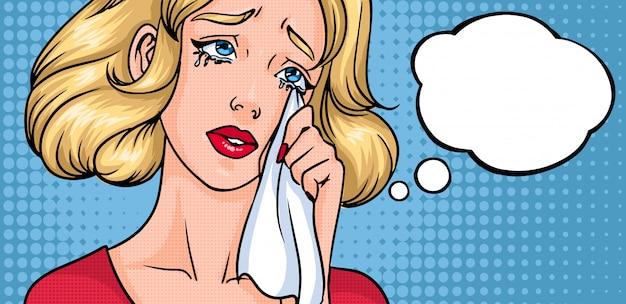 Płacząca twarz kobiety. smutna dziewczyna, poziome tło z miejscem na tekst. pusty pusty dymek. kolorowe komiksy w stylu pop-art.