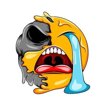 Płaczący wyraz twarzy z otwartymi ustami zmienia się w ciemną emotikonę czaszki