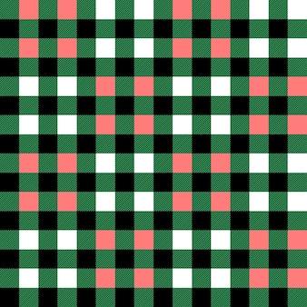 Plaid wzór w zieloną biało-różową kratę w kratę