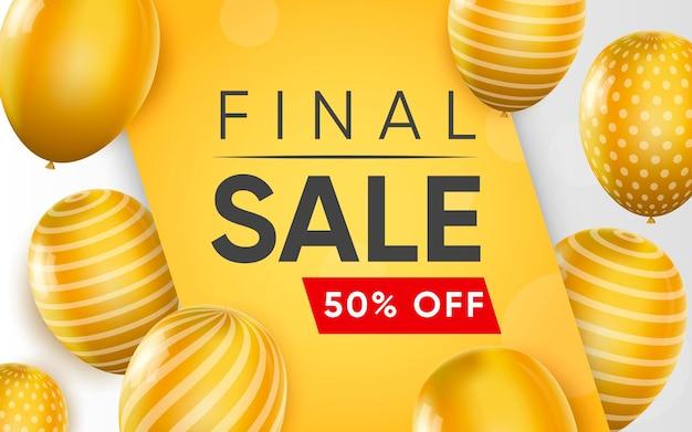 Plakat 3d przedstawiający sprzedaż końcową z balonami o 50% rabatu