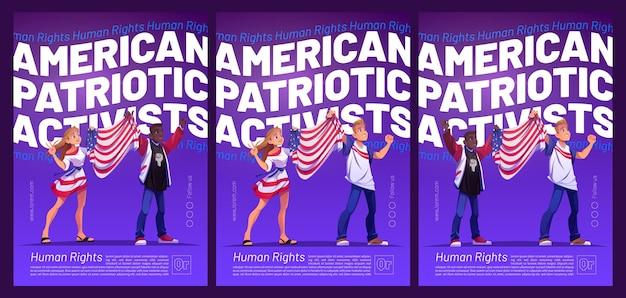 Plakat amerykańskich działaczy patriotycznych z ludźmi trzymającymi ulotki z flagą usa.