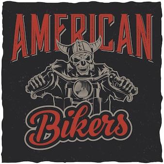 Plakat amerykańskich motocyklistów