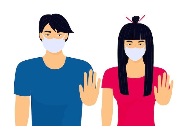 Plakat anty-azjatyckiej nienawiści. chinka i mężczyzna pokazują gest zatrzymania. zbrodnia rasistowska.