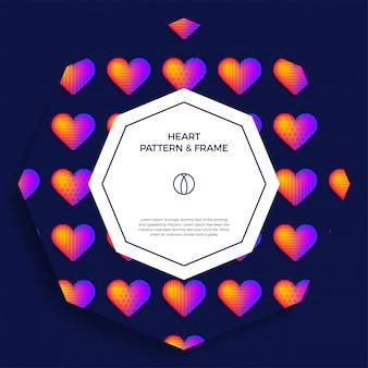 Plakat, baner lub karta z szablonem tytułu i tekstu, ozdobiona kolorową ramką serca