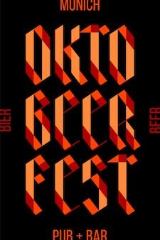 Plakat, baner z tekstem oktoberfest, berlin, oktober, beer and pub. plakat do baru, pubu, restauracji, motyw piwa. kolorowy projekt graficzny na tradycyjny festiwal oktoberfest.