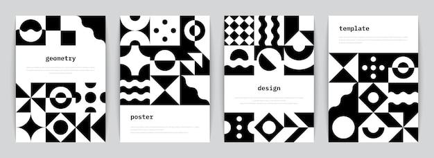 Plakat bauhausu. minimalne monochromatyczne geometryczne banery z prostymi czarnymi kształtami w stylu szwajcarskim. ilustracja wektorowa modne abstrakcyjne ulotki z graficzną kompozycją architektonicznego modernizmu