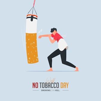 Plakat bez dnia tytoniowego dla koncepcji zatrucia papierosami.